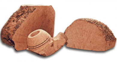 briarové drevo a ukážka briarovej fajky v procese výroby