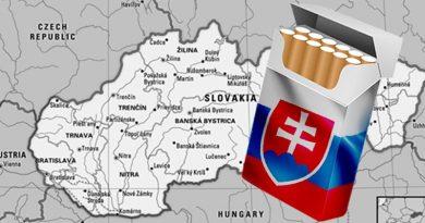 cigarety s motívom slovenskej vlajky - v pozadí je mapa Slovenska